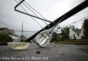 A street light and utility pole brought down by Hurricane Sandy lay on the street in Avalon, N.J. About 2.5 million customers had no power Tuesday in New Jersey. (photo by Mark Wilson via npr.org)