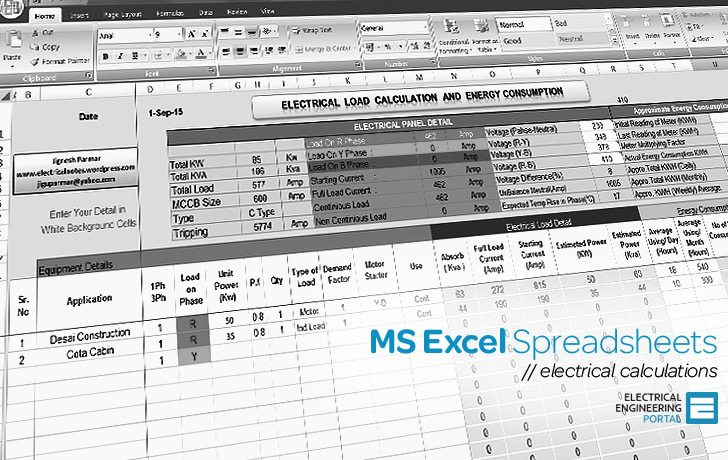 Electrical Tools - MS Excel Spreadsheets