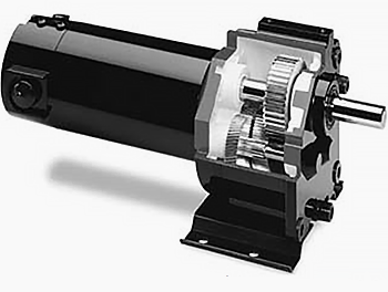 Speed reduction gearing is visible in this cutaway view of a parallel-shaft gearmotor. Shown is a small, sub-fractional horsepower gearmotor