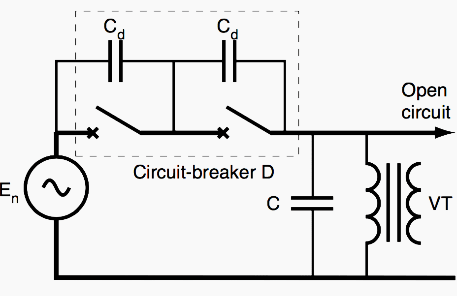 Ferroresonance of a voltage transformer connected in series with an open circuit breaker