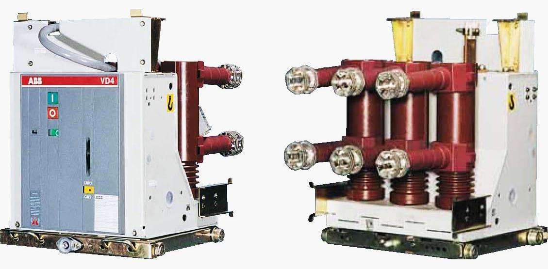 Indoor-mounted 24 kV vacuum-type circuit breaker on a truck, type VD4