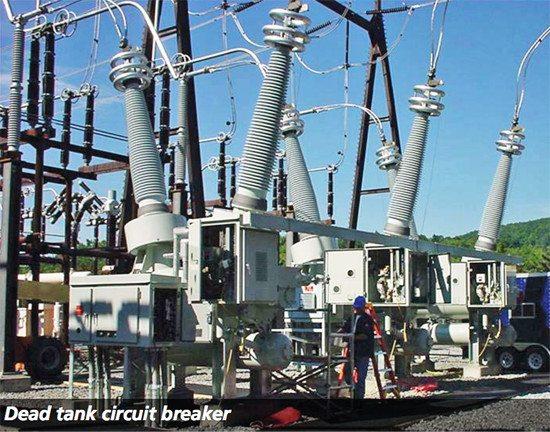 Dead-tank circuit breaker