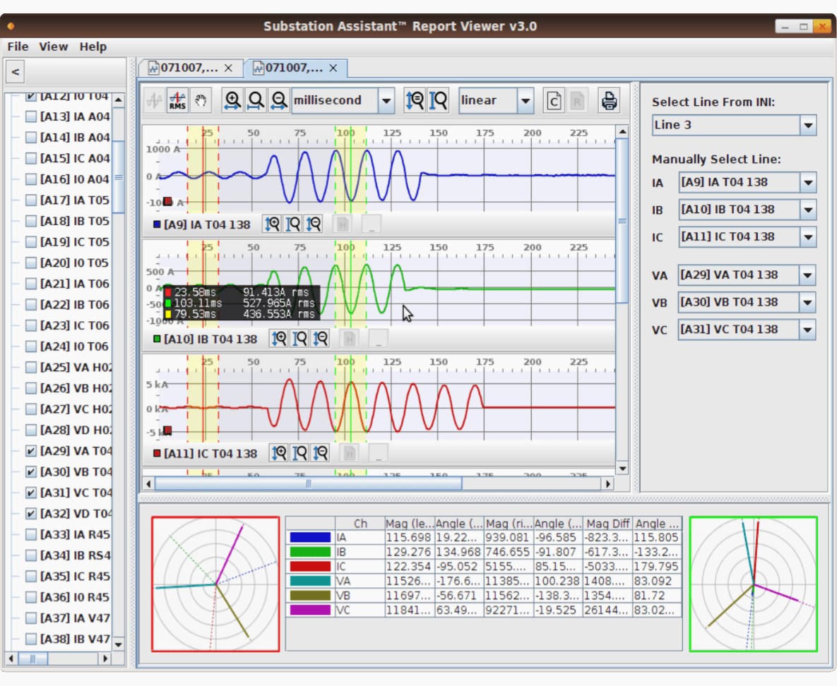 Substation disturbance analyser desktop-based user interface