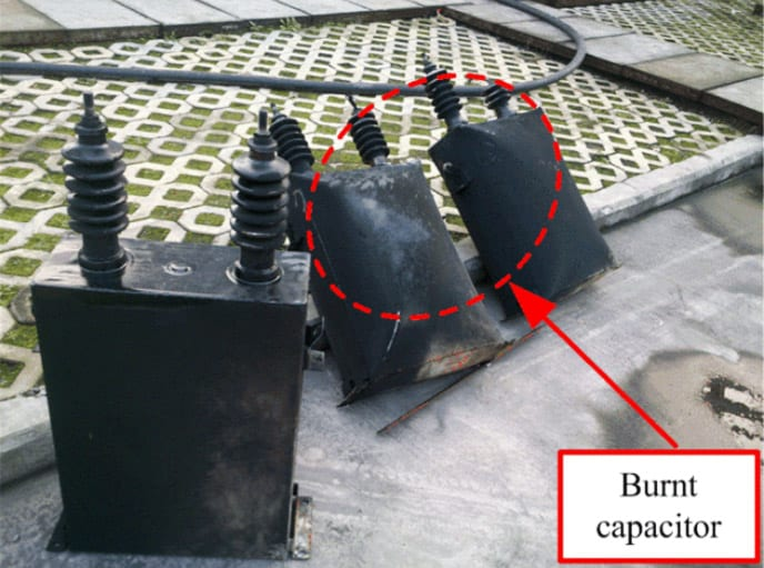 Burnt capacitors
