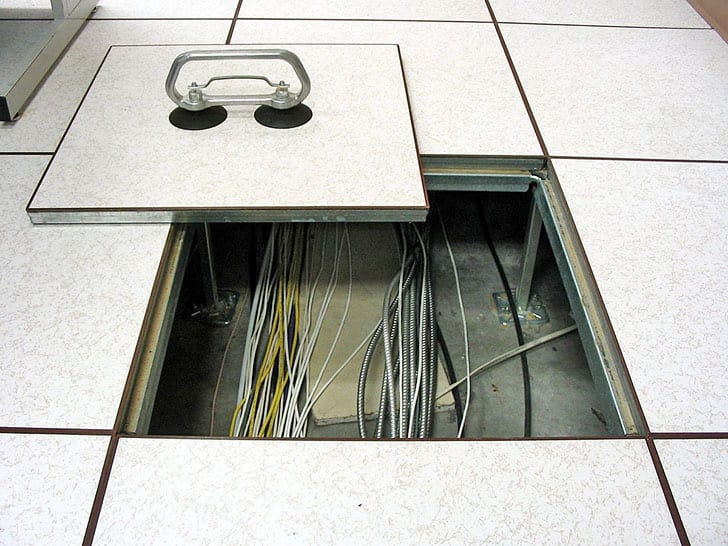 Cables in false floor of a substation control house