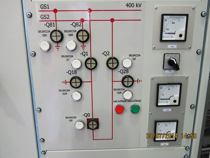 Mimic diagram in protection relay panel