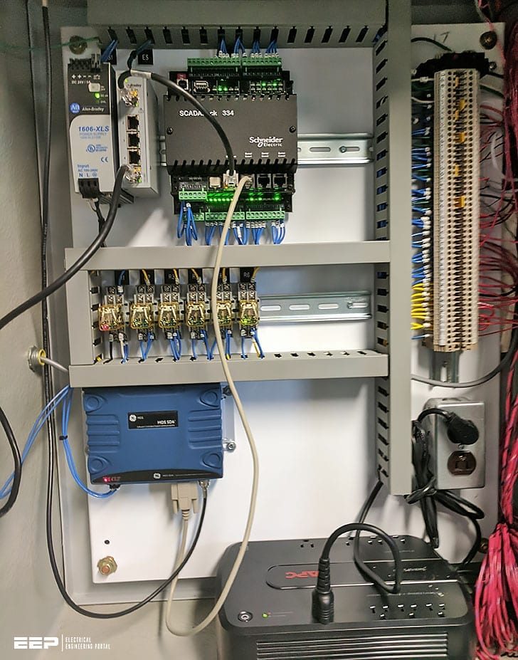 SCADA/RTU panel with Schneider Electric ScadaPack RTU, modem, APC UPS; source: Tri-Star Inc.