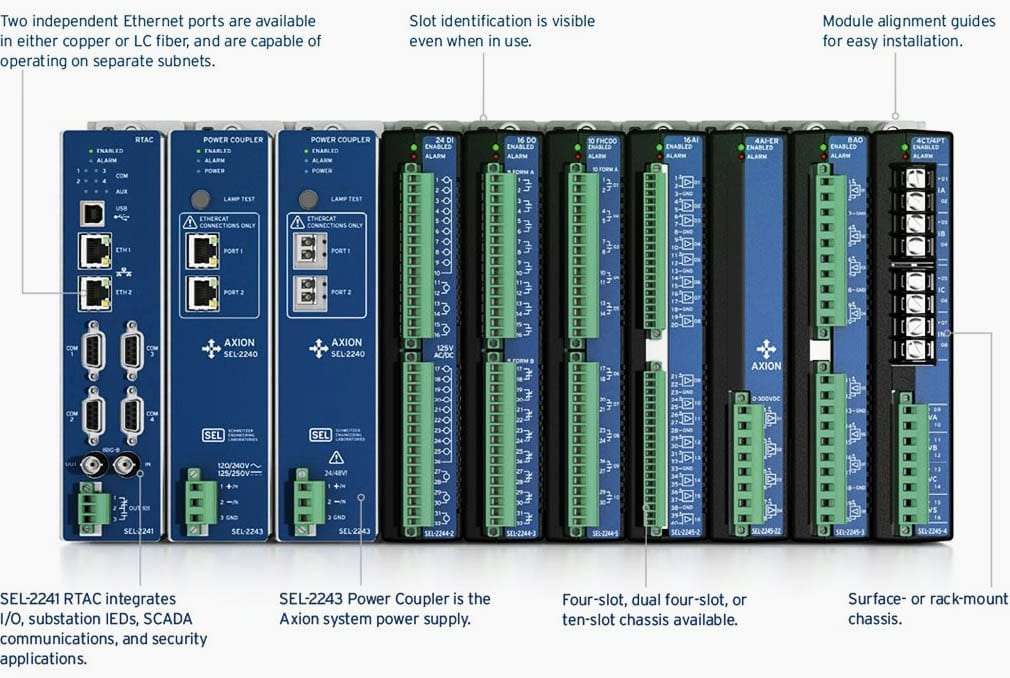 The SEL-2240 Axion is a fully integrated, modular input/output (I/O) and control solution ideally suited for utility and industrial applications.