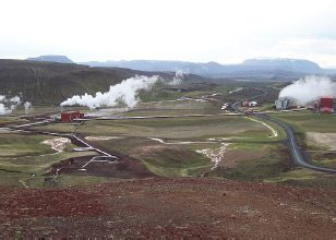 Krafla Geothermal Station in northeast Iceland