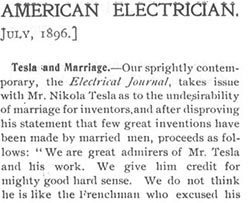 Tesla and Marriage - AMERICAN ELECTRICIAN, July 1, 1896